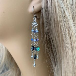 Sterling Silver, Abalone & Crystal Dangle Earrings